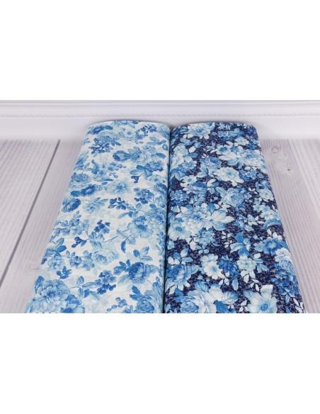 Tkanina bawełniana Light Blue Floral
