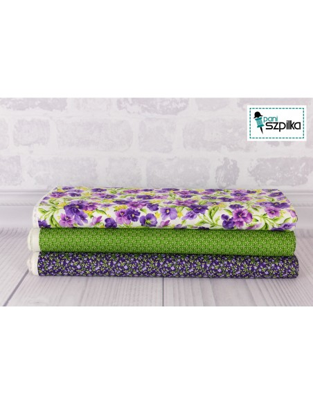 Emma's Garden Green Dimensional Geo Maywood cotton fabric floral